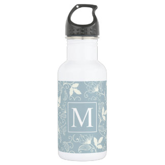 Elegant Floral Pattern Monogram | Water Bottle