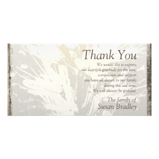 Elegant Floral Pattern Sympathy Thank you P card 2 Photo Greeting Card