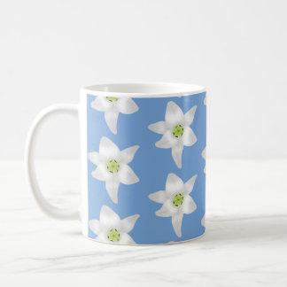 Elegant Floral Pattern. White Lilies on Blue. Basic White Mug