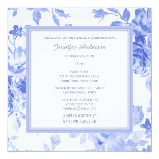 Elegant Floral Periwinkle Blue Bridal Shower Card