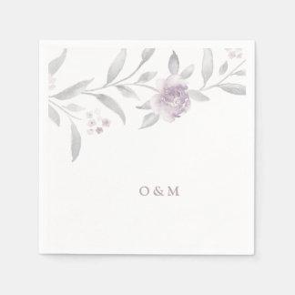 Elegant floral pink Chinoiserie Wedding monogram Paper Napkins
