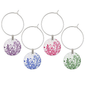 Elegant Floral Purple, Blue, Green, Pink Wine Charm