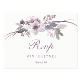 Elegant Floral Purple Winter Sweet 16 RSVP Postcard