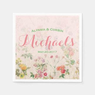 Elegant Floral Romantic Pink Wedding Reception Disposable Napkin