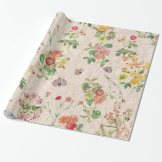 Elegant Floral Romantic Pink Wedding Wild Flower Wrapping Paper