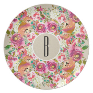 Elegant Floral Rustic Chic Kraft Monogram Wedding Plate