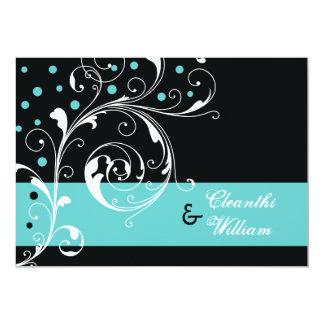 Elegant floral scroll leaf black, aqua wedding 13 cm x 18 cm invitation card