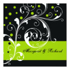 Elegant floral scroll leaf black, green wedding card