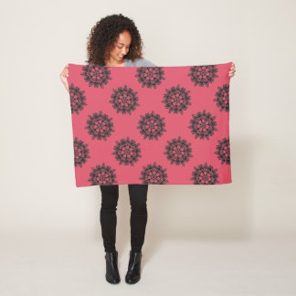 Elegant floral silhouette on chic color fleece blanket