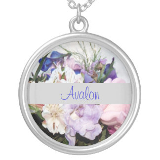 Elegant  Floral Silver Chain Name Necklace