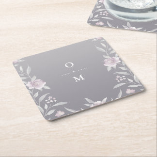 Elegant floral silver Chinoiserie Wedding monogram Square Paper Coaster