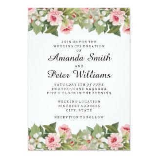 Elegant floral spring / summer wedding invitation