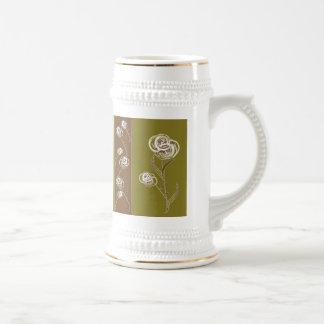 Elegant Floral Stein Coffee Mug