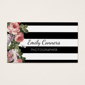 Elegant Floral Stripe Business Card