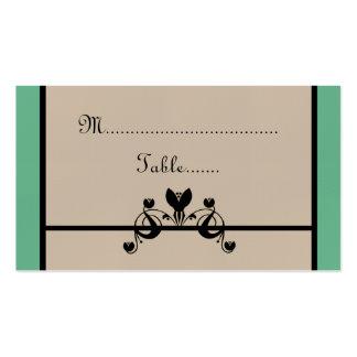 Elegant Floral Swirls Wedding Place Card Business Cards