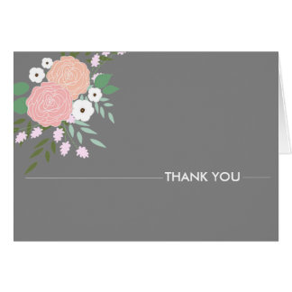 Elegant Floral Thank You Notes - gray Note Card