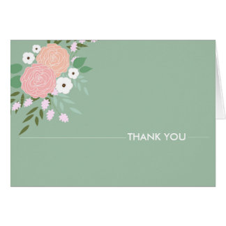 Elegant Floral Thank You Notes - mint Note Card