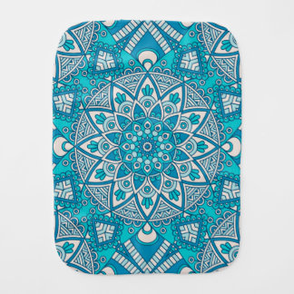Elegant floral Turquoise Boho vitral pattern Baby Burp Cloth