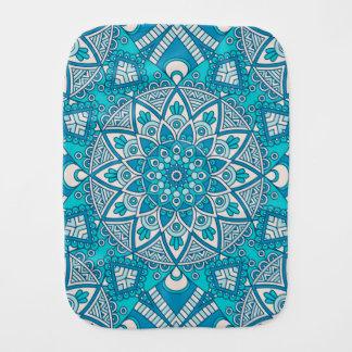 Elegant floral Turquoise Boho vitral pattern Burp Cloth