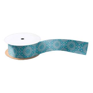 Elegant floral Turquoise Boho vitral pattern Satin Ribbon