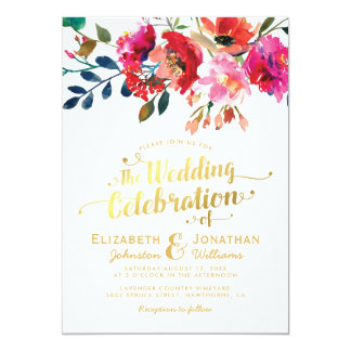 Elegant Floral Watercolor White Gold Wedding Card
