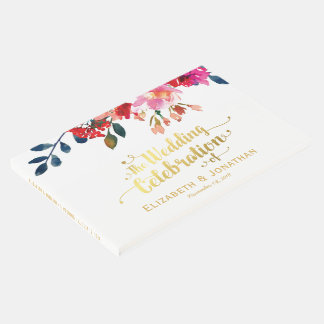 Elegant Floral Watercolor White Gold Wedding Guest Book
