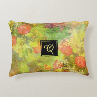 Elegant Floral Watercolor with Monogram Decorative Cushion