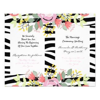 Elegant floral wedding program 11.5 cm x 14 cm flyer