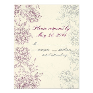 Elegant Floral Wedding RSVP Cards Wine Red Cream Announcements