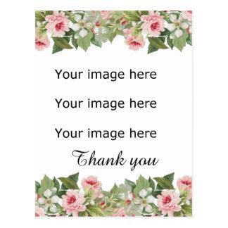 Elegant floral wedding thank you postcard