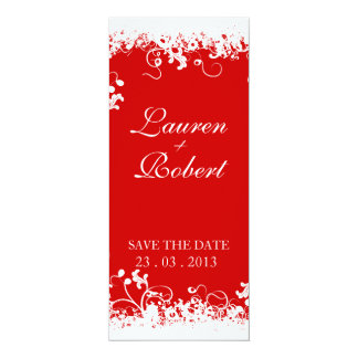 "Elegant Floral (white and red) invitation 4"" X 9.25"" Invitation Card"