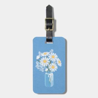 Elegant Floral White Daisies Mason Jar Blue Luggage Tag