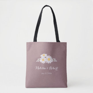 Elegant Floral White Daisies Wedding Favour Tote Bag