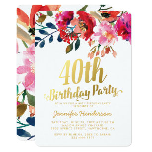 Elegant Floral White Gold 40th Birthday Party Invitation
