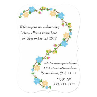 Elegant floral wreath baby shower collection card