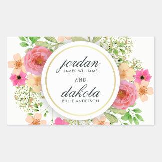 Elegant Floral Wreath | Modern Typography Wedding Rectangular Sticker