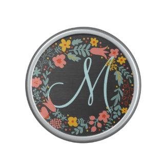 Elegant Floral Wreath Monogram Speaker