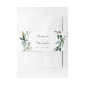 Elegant Floral Wreath Wedding Bellyband Invitation Belly Band