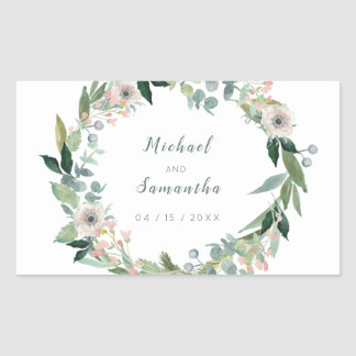 Elegant Floral Wreath Wedding Stickers