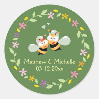 Elegant Floral Wreath Whimsical Wedding Favor Classic Round Sticker