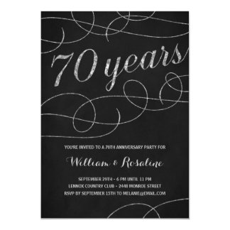 Elegant Flourish | 70th Anniversary Party Card