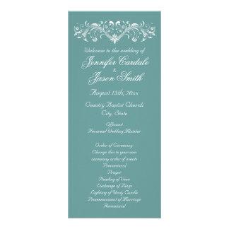 Elegant Flourish Aqua Vertical Wedding Programs Personalized Rack Card