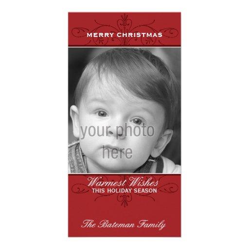 Elegant Flourish Christmas Photo Card in Red