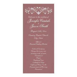 Elegant Flourish Mauve Fall Wedding Programs Rack Card