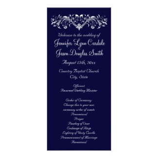 Elegant Flourish Navy Blue Wedding Programs Rack Card