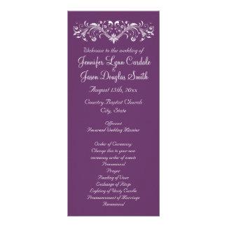 Elegant Flourish Regal Purple Wedding Programs Custom Rack Card