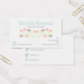 Elegant flourish social media icons business card
