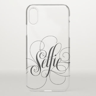 Elegant Flourished Calligraphy Black Selfie iPhone X Case