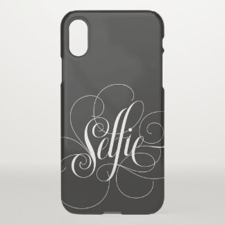 Elegant Flourished Calligraphy White Black Selfie iPhone X Case