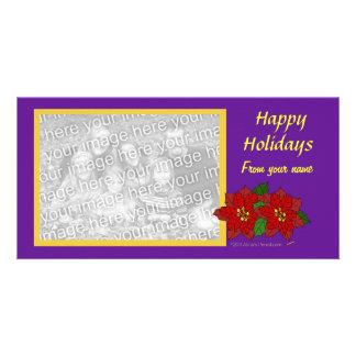 Elegant Flower Christmas Custom Photo Purple Gold Card